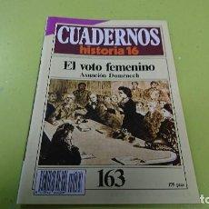 Coleccionismo de Revista Historia 16: CUADERNO CUADERNOS HISTORIA 16 - EL VOTO FEMENINO N° 163. Lote 122184103