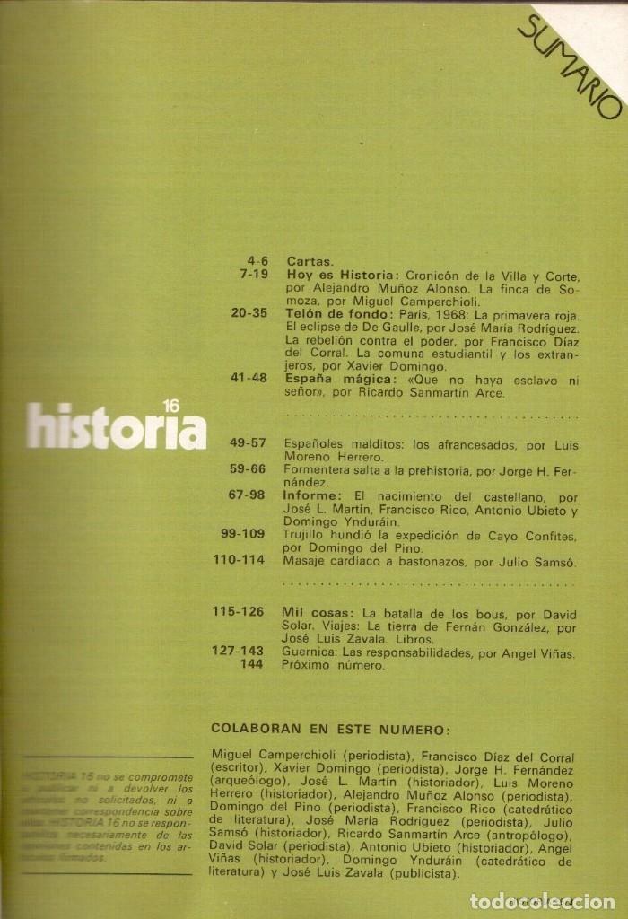 Coleccionismo de Revista Historia 16: 1978. mil años de castellano. parís 1968: la primavera roja. guernica: las responsabilidades. ver... - Foto 2 - 148534514