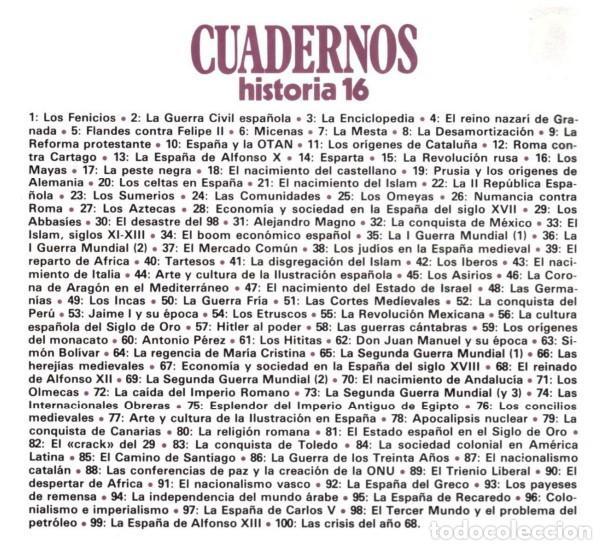 Coleccionismo de Revista Historia 16: COLECCIÓN COMPLETA DE CUADERNOS DE HISTORIA 16 (300 CUADERNOS) - Foto 8 - 206808261