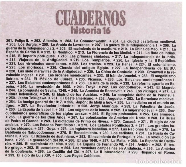Coleccionismo de Revista Historia 16: COLECCIÓN COMPLETA DE CUADERNOS DE HISTORIA 16 (300 CUADERNOS) - Foto 10 - 206808261