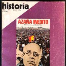 Coleccionismo de Revista Historia 16: REVISTA HISTORIA 16 - AÑO I - Nº3 - JULIO 1976 - AZAÑA INÉDITO - FRANCO FRENTE A PRIMO DE RIVERA. Lote 245893160
