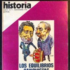 Coleccionismo de Revista Historia 16: REVISTA HISTORIA 16 -AÑO I - Nº7 -NOVIEMBRE 1976- LOS EQUILIBRIOS CANOVISTAS-LA REVOLUCIÓN SOVIÉTICA. Lote 246469690