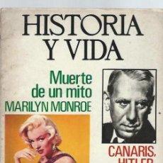 Coleccionismo de Revista Historia y Vida: HISTORIA Y VIDA, Nº 74, AÑO VII, MUERTE MARILYN MONROE,CANARIS HITLER Y FRANCO,FERROCARRIL ESPAÑOL. Lote 39915283