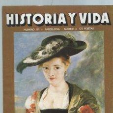 Coleccionismo de Revista Historia y Vida: HISTORIA Y VIDA, Nº 191,AÑO XVII, FEBRERO 1984, LAS MUJERES DE RUBENS,EL GENERAL ESCOBAR. Lote 39948524