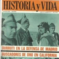 Coleccionismo de Revista Historia y Vida: REVISTA HISTORIA Y VIDA. NÚMERO 21. BARCELONA-MADRID. 1970. Lote 57084348