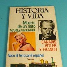 Coleccionismo de Revista Historia y Vida: HISTORIA Y VIDA Nº 74. MARILYN MONROE. NACE EL FERROCARRIL ESPAÑOL. CANARIS, HITLER Y FRANCO. Lote 101891907