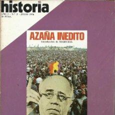 Coleccionismo de Revista Historia y Vida: REVISTA HISTORIA 16 AÑO I Nº 3 JULIO 1976 AZAÑA INEDITO EL MIEDO AL MONO FRANCO FRENTE A PRIMO DE RI. Lote 154861322