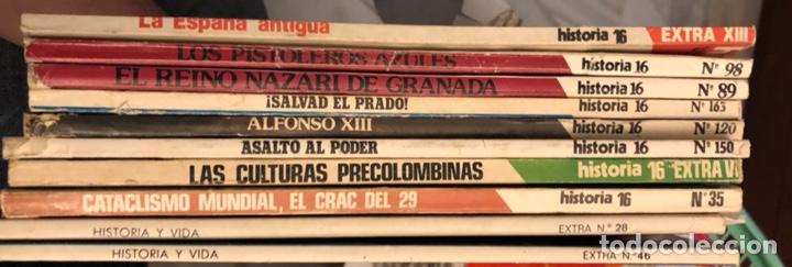LOTE DE REVISTAS HISTORIA Y 2 EXTRAS DE HISTORIA Y VIDA , 10 EN TOTAL (Coleccionismo - Revistas y Periódicos Modernos (a partir de 1.940) - Revista Historia y Vida)