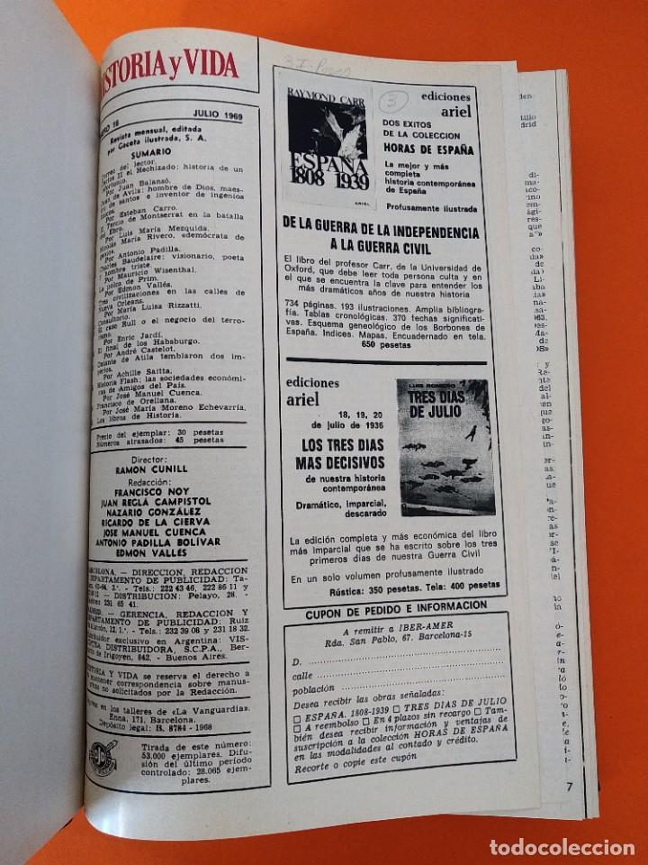 """Coleccionismo de Revista Historia y Vida: REVISTA - """"HISTORIA Y VIDA"""" AÑO 1969 - DOS TOMOS ENCUADERNADOS - Nº (10 AL 21) ...L2516 - Foto 3 - 223904330"""