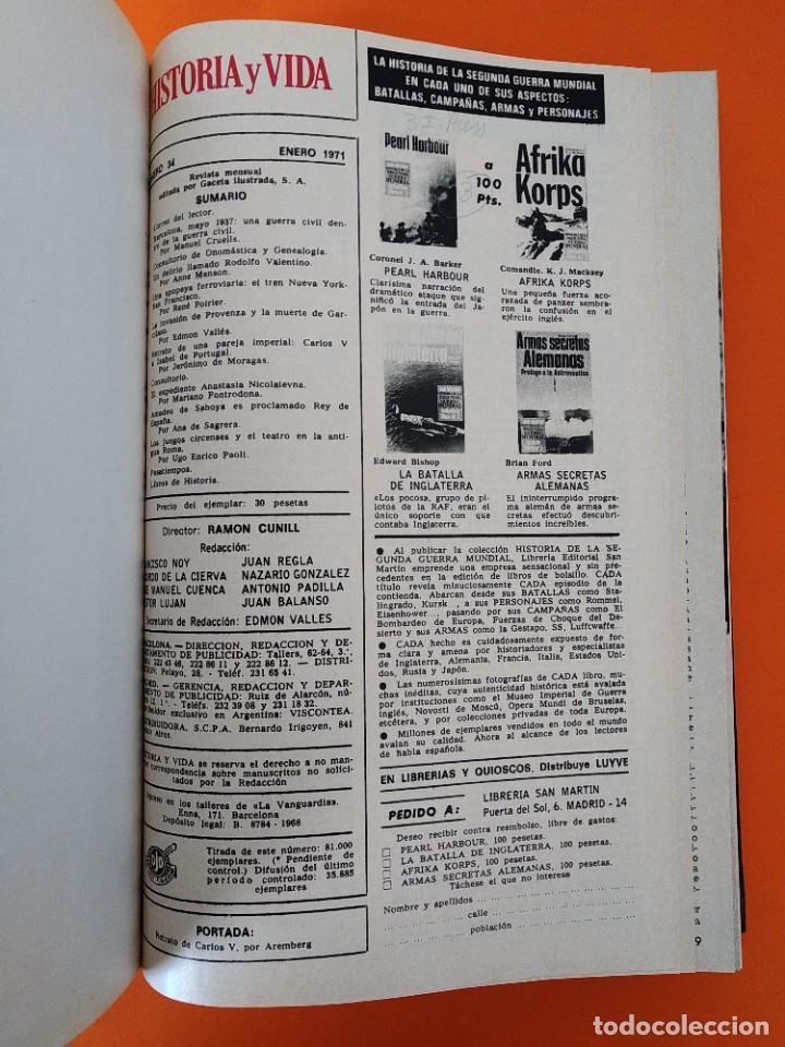 """Coleccionismo de Revista Historia y Vida: REVISTA - """"HISTORIA Y VIDA"""" AÑO 1971 - DOS TOMOS ENCUADERNADOS - Nº (34 AL 45) ...L2518 - Foto 3 - 223905172"""