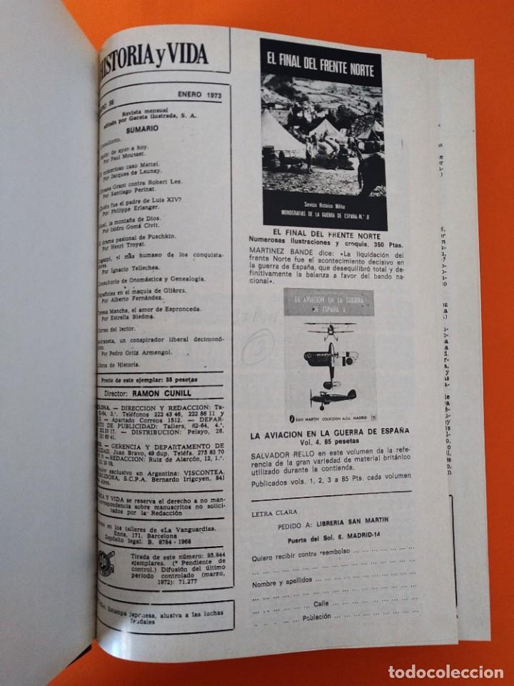 """Coleccionismo de Revista Historia y Vida: REVISTA - """"HISTORIA Y VIDA"""" AÑO 1973 - DOS TOMOS ENCUADERNADOS - Nº (58 AL 69) ...L2520 - Foto 3 - 223905906"""