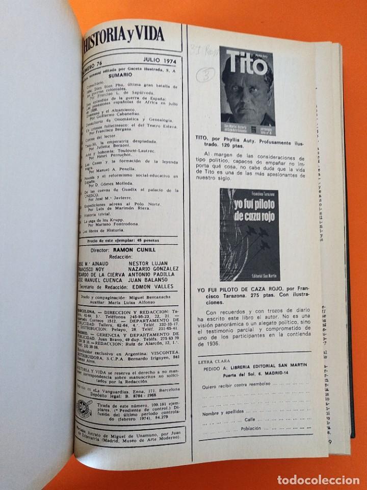 """Coleccionismo de Revista Historia y Vida: REVISTA - """"HISTORIA Y VIDA"""" AÑO 1974 - DOS TOMOS ENCUADERNADOS - Nº (70 AL 81) ...L2521 - Foto 7 - 223906217"""