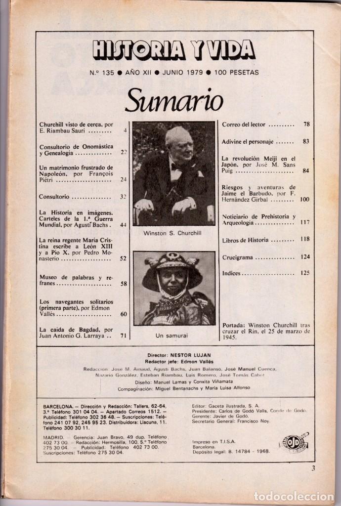 Coleccionismo de Revista Historia y Vida: LOTE DOS REVISTAS HISTORIA Y VIDA Ns135,136 AÑO 1979,GEORGE PATTON Y W. CHURCHILL - Foto 4 - 241548460