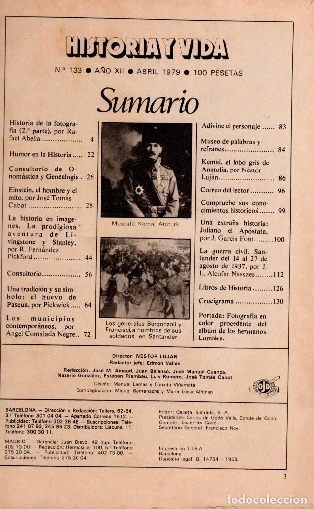 Coleccionismo de Revista Historia y Vida: LOTE DOS REVISTAS HISTORIA Y VIDA Ns 133 Y 134 HISTORIA DE LA FOTOGRAFIA, BALLETS RUSOS - Foto 2 - 241554200