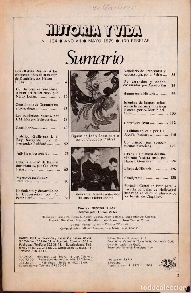 Coleccionismo de Revista Historia y Vida: LOTE DOS REVISTAS HISTORIA Y VIDA Ns 133 Y 134 HISTORIA DE LA FOTOGRAFIA, BALLETS RUSOS - Foto 3 - 241554200