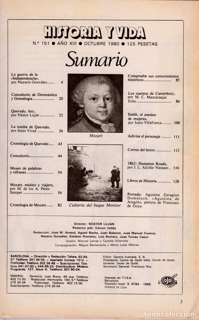 Coleccionismo de Revista Historia y Vida: LOTE 2 REVISTAS HISTORIA Y VIDA Ns 151 y 152 GUERRA DE COREA Y GUERRA INDEPENDENCIA-SUMARIOS EN FOTO - Foto 2 - 241555355
