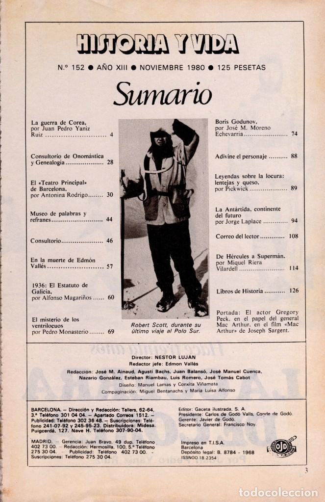 Coleccionismo de Revista Historia y Vida: LOTE 2 REVISTAS HISTORIA Y VIDA Ns 151 y 152 GUERRA DE COREA Y GUERRA INDEPENDENCIA-SUMARIOS EN FOTO - Foto 3 - 241555355