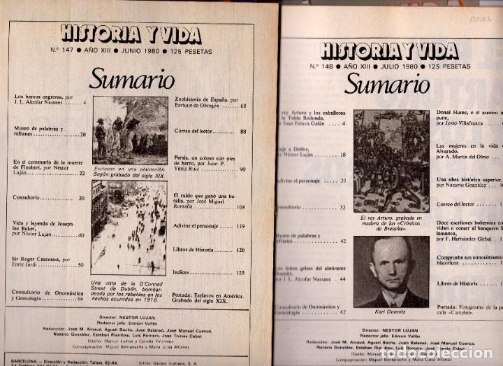 Coleccionismo de Revista Historia y Vida: LOTE DOS REVISTAS HISTORIA Y VIDA 147 Y 148 REY ARTURO Y BARCOS NEGREROS SUMARIO EN FOTO - Foto 2 - 252341525