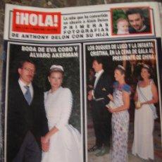 Coleccionismo de Revista Hola: HOLA - N 2708 - 1996 - EVA COBO Y ALBARO AKERMAN - DUQUES DE LUGO - ANTHONY DELON . Lote 136500318