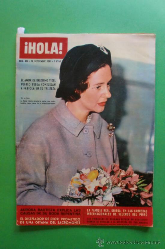 ¡HOLA! Nº 996 28 SEPTIEMBRE 1963 AURORA BAUTISTA - BRIGITTE BARDOT - SOFIA LOREN (Coleccionismo - Revistas y Periódicos Modernos (a partir de 1.940) - Revista Hola)