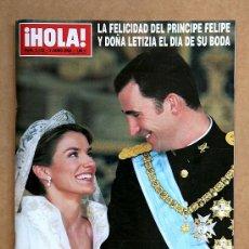 Collectionnisme de Magazine Hola: HOLA 3122 - 3 JUN 2004 - BODA PRINCIPE FELIPE Y LETICIA ORTIZ. Lote 37437368