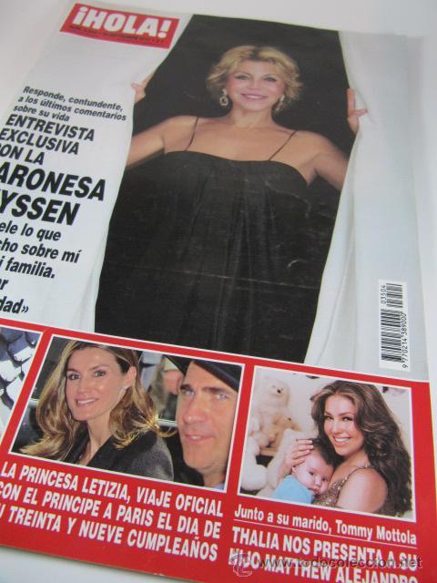 REVISTA HOLA BARONESA THYSSEN, TITA CERVERA, LETIZIA, THALIA, HELEN LINDES, PALOMA CUEVAS. (2011) (Coleccionismo - Revistas y Periódicos Modernos (a partir de 1.940) - Revista Hola)