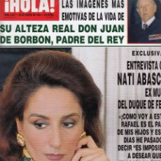 Collectionnisme de Magazine Hola: REVISTA HOLA Nº 2537 AÑO 1993. NATI ABASCAL. DON JUAN DE BORBON. ISABEL SARTORIUS. . Lote 52750901