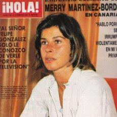 Collectionnisme de Magazine Hola: REVISTA HOLA Nº 2166 AÑO 1986. MERRY MARTINEZ-BORDIOU. ISABEL PANTOJA. FALCON CREST.. Lote 52763832