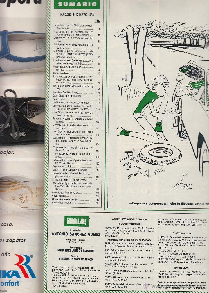 Coleccionismo de Revista Hola: REVISTA HOLA Nº 2282 AÑO 1988. BODA DE BURT REYNOLDS Y LONI ANDERSON. JULIO IGLESIAS. MIGUEL BOSE. - Foto 2 - 52779662