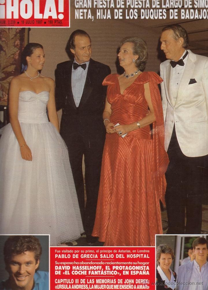 REVISTA HOLA Nº 2239 AÑO 1987. PABLO DE GRECIA. JOAN COLLINS. DAVID HASSELHOFF. JOHN DEREK. (Coleccionismo - Revistas y Periódicos Modernos (a partir de 1.940) - Revista Hola)