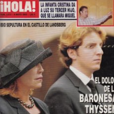 Coleccionismo de Revista Hola: REVISTA HOLA Nº 3013 AÑO 2002. INFANTA CRISTINA. ROSA. CARLOTA CASIRAGHI. BARONESA THYSSEN.. Lote 53163723