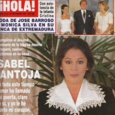 Coleccionismo de Revista Hola: REVISTA HOLA Nº 2616 AÑO 1994. BODA JOSE BARROSO Y MONICA SILVA. ISABEL PANTOJA. REYES DE BELGICA.. Lote 235294820