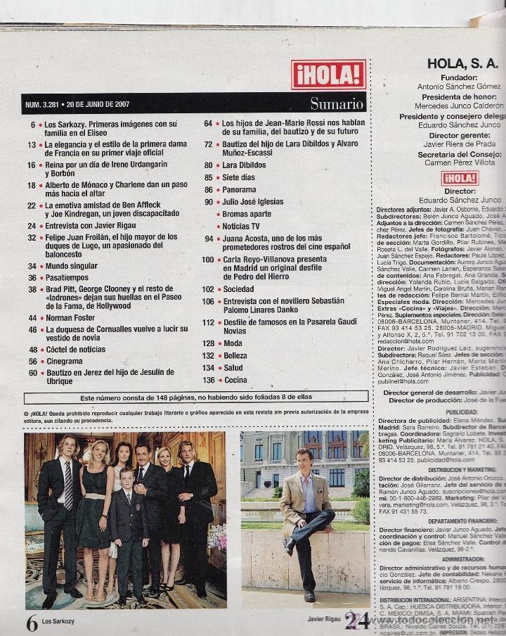 Coleccionismo de Revista Hola: REVISTA HOLA Nº 3281 AÑO 2007. BAUTIZO EUGENIA DE BORBON. BAUTIZO LARA DIBILDOS Y MUÑOZ ESCASI. - Foto 2 - 53391613