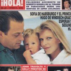 Coleccionismo de Revista Hola: REVISTA HOLA Nº 2458 AÑO 1991. SOFIA DE HABSBURGO Y PRINCIPE HUGO. BODA TRAVOLTA Y KELLY PRESTON. . Lote 53513544