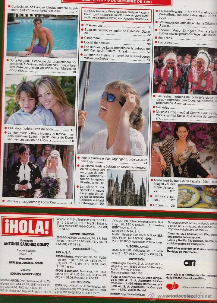 Coleccionismo de Revista Hola: REVISTA HOLA Nº 2774 AÑO 1997. INFANTA CRISTINA. ENRIQUE IGLESIAS. LA RYDER CUP. LAS TOP MODELS. - Foto 2 - 54321509