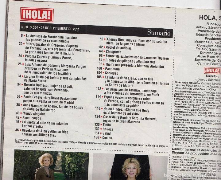 Coleccionismo de Revista Hola: REVISTA HOLA Nº 3504 AÑO 2011. BARONESA THYSSEN. HELEN LINDES. LETIZIA. THALIA, TOMMY MOTTOLA E HIJO - Foto 2 - 58326656