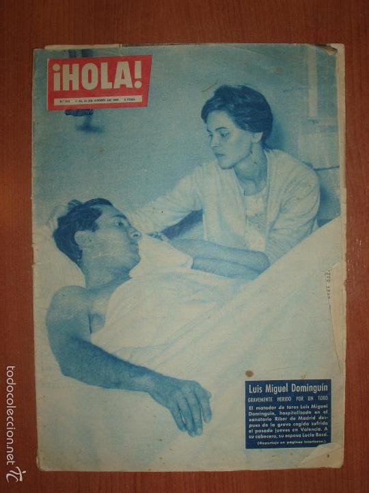 REVISTA ILUSTRADA HOLA. Nº 780, AÑO 1959. LUIS MIGUEL DOMINGUIN, HERIDO POR UN TORO... (Coleccionismo - Revistas y Periódicos Modernos (a partir de 1.940) - Revista Hola)