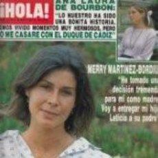 Coleccionismo de Revista Hola: MERRY MARTINEZ-BORDIU / PORTADA Y REPORTAJE / REVISTA HOLA 2179 / 1986 / 17. Lote 60815147