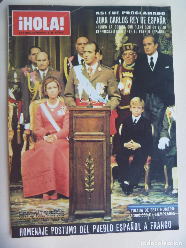 REVISTA HOLA ESPECIAL PROCLAMACION DE JUAN CARLOS COMO REY DE ESPAÑA . NOVIEMBRE 1975 (Coleccionismo - Revistas y Periódicos Modernos (a partir de 1.940) - Revista Hola)