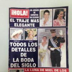 Coleccionismo de Revista Hola: ¡HOLA!, TODOS LOS DETALLES DE LA BODA DEL PRINCIPE FELIPE Y DOÑA LETIZIA, Nº3123, 10-JUNIO 2004. Lote 116884779