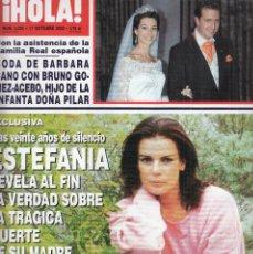 Coleccionismo de Revista Hola: REVISTA HOLA Nº 3036 AÑO 2002. ESTEFANIA. BODA BARBARA CANO Y BRUÑO GOMEZ-ACEBO. TONI CANTO.. Lote 117209727