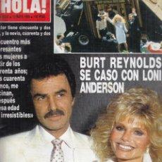 Coleccionismo de Revista Hola: REVISTA HOLA Nº 2282 AÑO 1988. BODA DE BURT REYNOLDS Y LONI ANDERSON. JULIO IGLESIAS. MIGUEL BOSE. . Lote 117212407