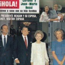 Colecionismo da Revista Hola: REVISTA HOLA Nº 2125 AÑO 1985. CARMEN Y JEAN-MARIE ROSSI. REAGAN Y NANCY. BOOKE SHELDS. PAPA. . Lote 117433643