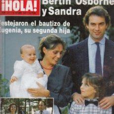 Coleccionismo de Revista Hola: REVISTA HOLA Nº 2201 AÑO 1986. BERTIN OSBORNE Y SANDRA. ANA OBREGON. TAMARA PADRE Y CHRISTINE.. Lote 117520511
