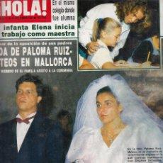 Coleccionismo de Revista Hola: REVISTA HOLA Nº 2197 AÑO 1966. BODA PALOMA RUIZ-MATEOS. ANA OBREGON. DODA DE DESIREE LEQUIO.. Lote 117652811