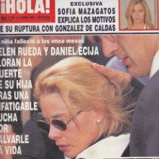 Coleccionismo de Revista Hola: REVISTA HOLA Nº 2756 AÑO 1997. SOFIA MAZAGATOS. BODA ESTHER ARROYO. ANA OBREGON Y DAVOR. . Lote 117774711