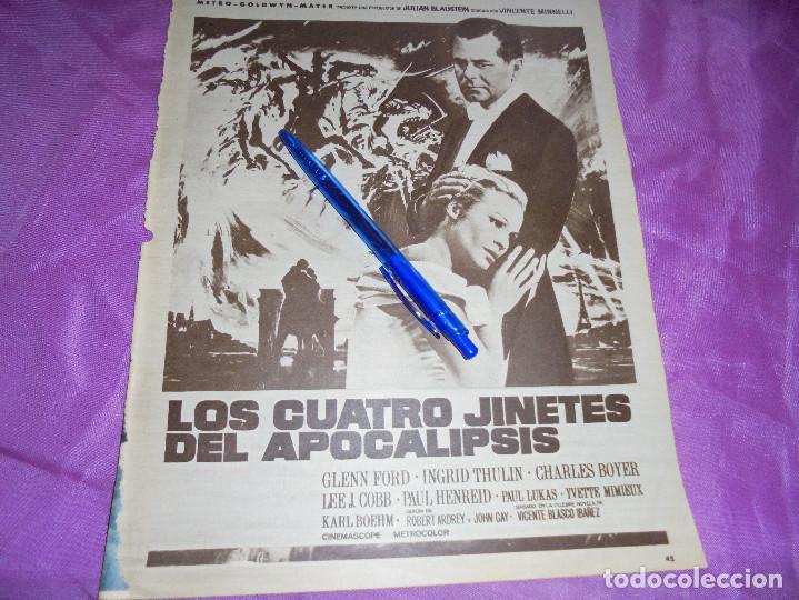 PUBLICIDAD DE LA PELICULA : LOS CUATRO JINETES DEL APOCALIPSIS, GLENN FORD . HOLA, ABRIL 1962 (Coleccionismo - Revistas y Periódicos Modernos (a partir de 1.940) - Revista Hola)