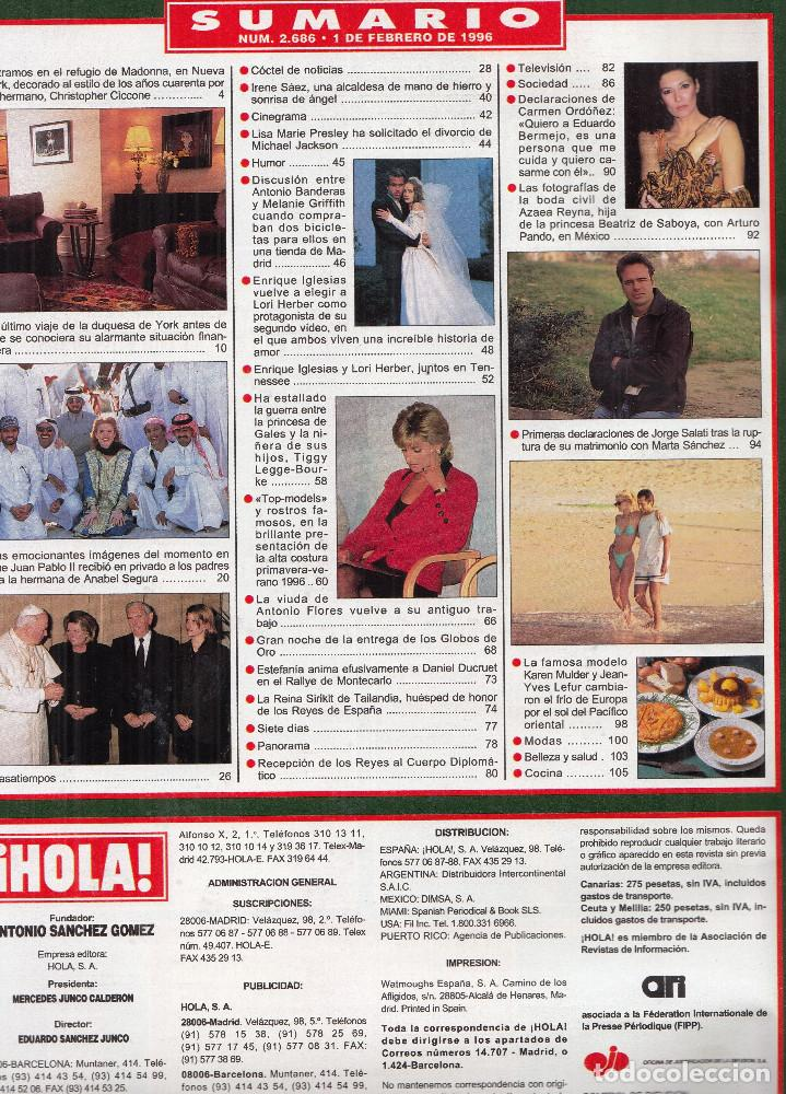 Coleccionismo de Revista Hola: REVISTA HOLA Nº 2686 AÑO 1996. JUAN PABLO II. ENRIQUE IGLESIAS. DIANA. JORGE SALATI. - Foto 2 - 118493615