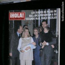 Coleccionismo de Revista Hola: F1 HOLA Nº 2941 AÑO 2000 LOS DUQUES DE PALMA DE MALLORCA PRESENTAN A SU SEGUNDO HIJO. Lote 118985863