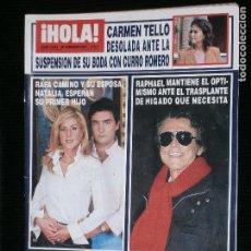 Coleccionismo de Revista Hola: F1 HOLA HOLA Nº 3054 AÑO 2003 RAFA CAMINO Y SU ESPOSA NATALIA ESPERAN SU PRIMER HIJO. Lote 118987679